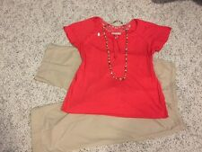 Women's 3 Piece Outfit. Lg. Top; Jones NY Sport  Capris; NWT Pearl Necklace.