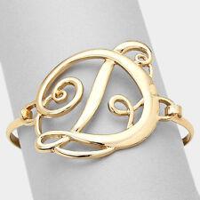 """Monogram Letter D Bangle Bracelet Hinge Script Font 1.75"""" Gift Personalized GOLD"""
