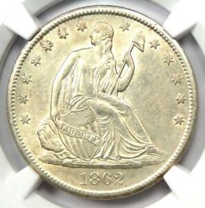 1862-S Seated Liberty Half Dollar 50C - Certified NGC AU Details - Rare Date!