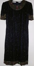 SWEELO Silk Embroidered Shift Dress Size L 10 12 Navy Blue Sequin Beads 1980s