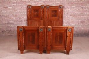 Antique French Art Deco Mahogany Queen Size Bed, Circa 1920s