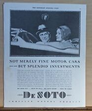 1930 magazine ad for DeSoto - Not Just Fine Motor Cars But Splendid Investments