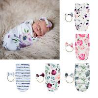 Adjustable Baby Infant Cotton Floral Blanket Swaddle Wrap Hairband Unisex