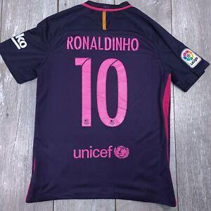 Nike Barcelona FCB  #10 Ronaldinho Soccer Football Away Jersey Men Medium 2016
