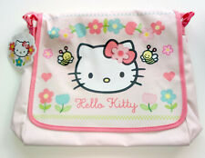 Hello Kitty PINK MESSENGER BAG Bees Flowers SHOULDER STRAP Nylon LINED Hook Loop