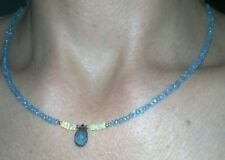 21 carats genuine faceted blue topaz and fire Opal solid gold 14k necklace
