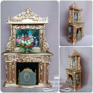 Dolls House fireplace screen fireguard picture bouquet  flowers   1:12 scale