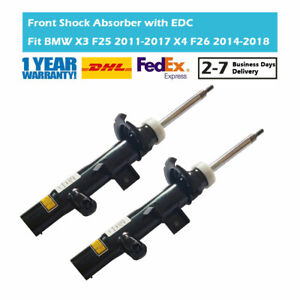 2X Front Suspension Shock Absorbers With EDC Fit BMW X3 F25 X4 F26 37116797026
