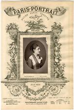Lemercier, Paris-Portrait, Julia Reine, chanteuse Vintage albumen Print Tira