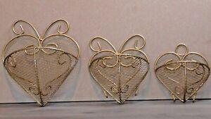 Metal Heart Shaped Hanging Wall Baskets Set of 3