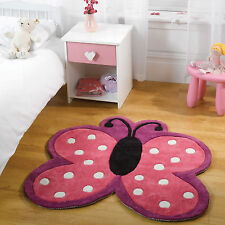 Flair Rugs Kiddy Play Polka Butterfly Childrens Rug Multi 90 X 90 Cm