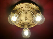 Antique Bronze Federal Style Ceiling Lamp; Military Stars & Scrambled Eggs Light