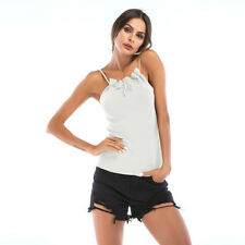 Sexy Straps Backless Knitted Tanks - White