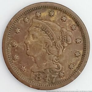 1847 US Large Cent Penny Braided Hair Bust Copper 1C Coin American 6 Point Star