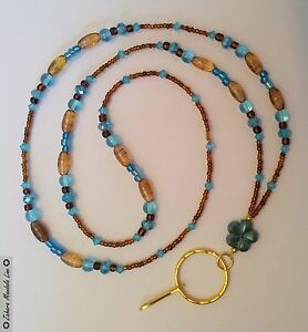 GOLD Brown & Turquoise ID Badge Holder HANDMADE Beaded Lanyard Fashion Necklace