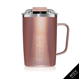 BRUMATE TODDY Mug 16 oz Leak proof Locking Lid hot or cool - GLITTER ROSE GOLD