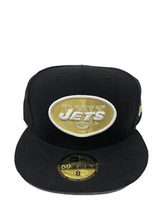 New York Jets NFL New Era  59FIFTY Fitted Hat - Black/Gold - Size 8