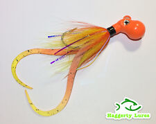 Orange yellow Octopus Bucktail Jig with teaser tails Saltwater size choice