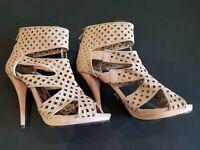 Next size 4.5 (37.5) nude faux leather zip up cut out peep toe stilettos heels