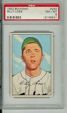 1952 BOWMAN #240, BILLY LOES RC (LISTED)  GRADED  NM-MT 8  BY PSA, DEAD CENTERED