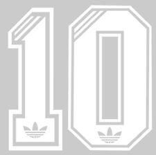 1980's Retro Adidas no 10 Football Shirt Name set white or red or black or blue