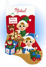 Felt Embroidery Kit ~ Design Works Busy Elves Christmas Stocking #DW5053