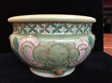 """Vintage Chinese Porcelain Hand Painted SIGNED By Artist Green Jade 4""""x6"""""""