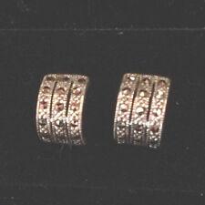 NEW Sterling Silver & Marcasite Small Hoop Stud Earrings