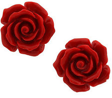 Fashion Jewelry Coral Red 925 Sterling Silver Stud Earrings