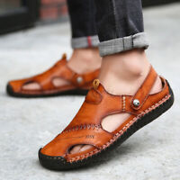 Men Summer Hand Stitching Sandals Leather Fisherman Shoes Closed Toe Beach Casua