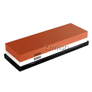 3000/8000 Double-Sided Sharpening Stone Waterstone Grindstone with Rubber Stand