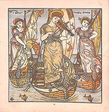 I saw 3 ships.Swan.Violin.Walter Crane.Baby's Opera.1870.Rhyme.Genuine.Antique