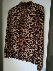 Top River Island Brown mix Leopard Print Top High polo Neck Size 8 Autumn