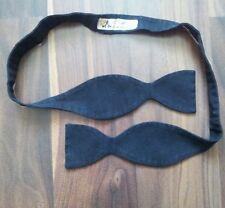 Vintage 100% pure black cotton James Bond bow tie Double ended self tie bowtie