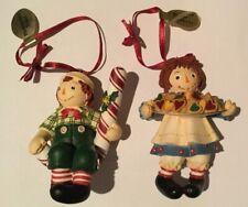 Vintage Raggedy Ann Treats & Raggedy Andy Peppermint Danbury Mint Ornaments Tags