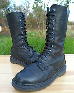 Dr Martens England 1914 Women 4 UK 6 US Tall Combat Boots 14 Blue eyelet Leather