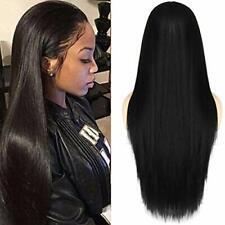 Largo Negro pelucas de Cabello para Mujeres seda de aspecto natural sintético Cabello Lacio