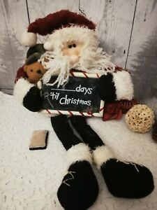 CHRISTMAS COUNTDOWN CHALK BOARD SOFT TOY SANTA  - ??? DAYS TIL CHRISTMAS - XMAS