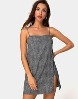 MOTEL ROCKS Datista Slip Dress in Ditsy Leopard Grey   Extra Small XS     (MR89)