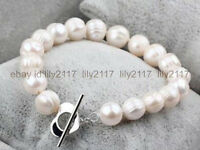 Genuine natural 11-12MM white baroque freshwater cultured pearl bracelet 7.5""
