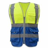 Newest Reflective Vest Men Safety Work Wear Tool Pockets Yellow Blue Waistcoats