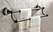 Black Oil Rubbed Brass Ceramic Base Bath Wall Mounted Double Towel Rails qba060