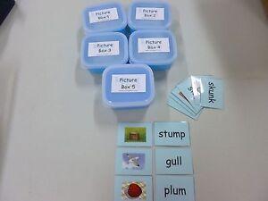 Montessori Language Phonics BLUE Scheme boxes- pictures  & tags