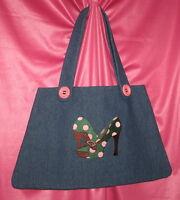 Handmade purse/bag/tote - Blue - Denim - Polka Dot Shoe - Medium