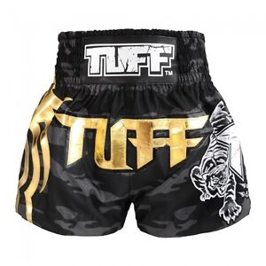 Muay Thai Boxing Shorts TUFF Black Camo Army Camouflage size XL in USA