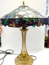 "Quoizel Grapevine Stained Leaded Glass Gilt Crackle Finish Table Lamp 24"" Tall"
