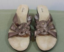 Clark's 88584 Womens size 7.5 M Medium Brown Leather Wedge Slides Sandals Shoes