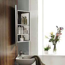 Stainless Steel Bathroom Mirror Corner Cabinet Wall Mounted Single Door Storage