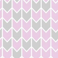 Grey/Pink Harper Down Arrow pink 100% cotton fabric by the yard