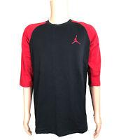NEW Nike Air Jordan Raglan Men's Size L 3/4 Sleeve Shirt AA5607 010 Red + Black